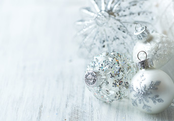 White Christmas balls; close up