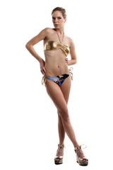 Sexy woman in bikini on white background