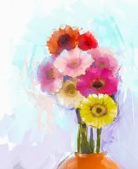 Gerbera flower.Abstract flower oil painting.