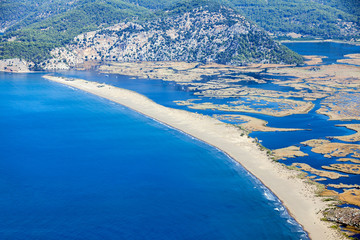 Iztuzu beach and the delta of Dalyan river, Dalyan, Mugla