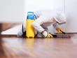 Leinwanddruck Bild - Pest controler works in the kitchen