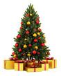 Obrazy na płótnie, fototapety, zdjęcia, fotoobrazy drukowane : decorated christmas tree with gift boxes isolated on white backg
