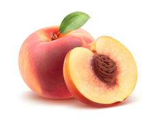 """Постер, картина, фотообои """"Beautiful whole peach and split isolated on white"""""""