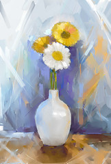 Gerbera flowers oil painting.Vase with  bouquet flowers