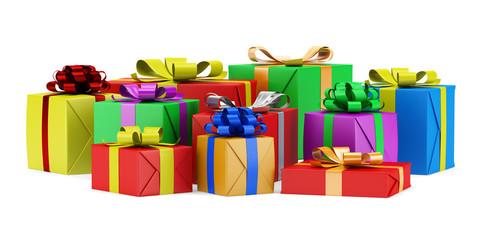 many gift boxes isolated on white background
