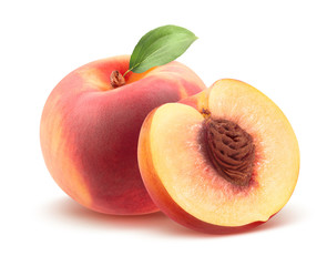 Beautiful whole peach and split isolated on white
