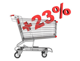 shopping cart with plus 23 percent sign isolated on white backgr