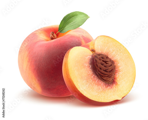 Fotobehang Vruchten Beautiful whole peach and split isolated on white