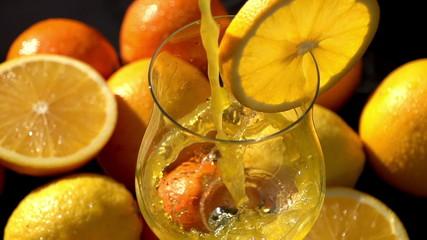 Poured Orange Juice Close Up