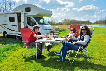Family vacation, RV (camper) travel with kids, active holiday