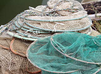 bunch of fishing nets of fishermen
