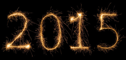 Number 2015 written with a sparkler