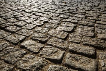 Macro viev of Cobblestone road