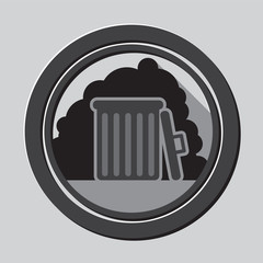 Gray garbage bin icon with shadow in circle - mobile & web icon