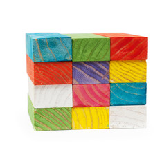 cube of colored cubes isolated on white background