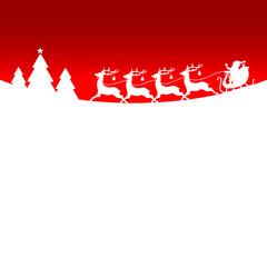 Christmas Sleigh Santa Reindeers Red