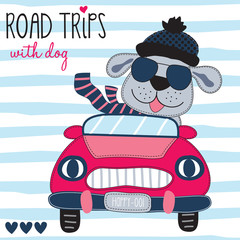 road trips with dog vector illustration
