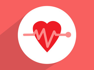 Heart beat, cardiogram,  ,Flat design style