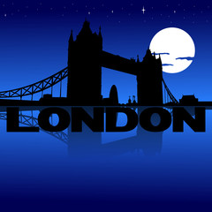 Tower Bridge London reflected with text and moon illustration