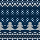 Fototapety Winter Holiday Seamless Knitting Pattern with Christmas Tree