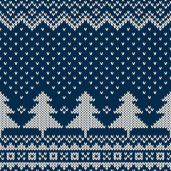 Winter Holiday Seamless Knitting Pattern with Christmas Tree