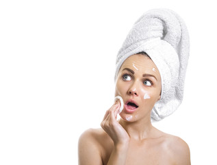 Woman with healthy skin after bathing