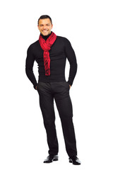 Full length portrait of happy handsome young man isolated on whi