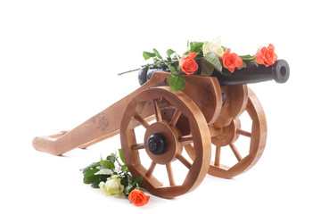 vintage decorative wooden mortar with blooming roses