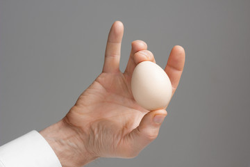 Male's hand with hen's egg.