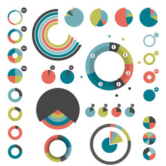 Set of round charts. Various color pie graph.
