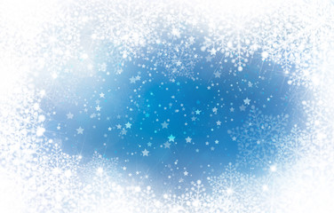 Blue background with snowflakes frame.