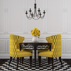 The elegant interior  of dining room with yellow  chairs