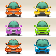 Colorful cartoon cars  front view vector