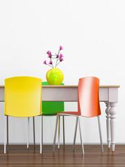 Esstisch mit bunten Stühlen