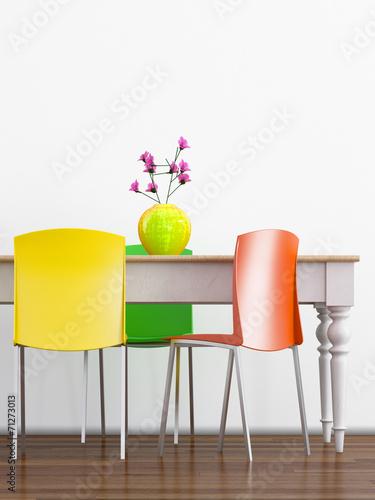 canvas print picture Esstisch mit bunten Stühlen
