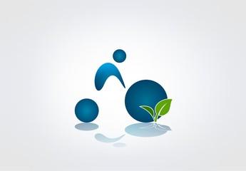 Sport logo leaf symbol water drop healty icon