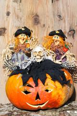 Kürbis,Hexe und Geist zu Halloween