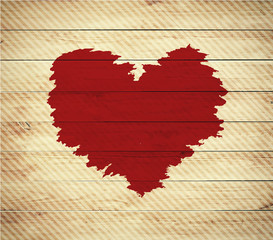 Old wooden background with Valentine's Day symbol,watercolor