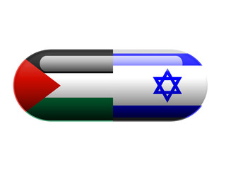 A pill with the Palestine and Israeli flag wrapped around it
