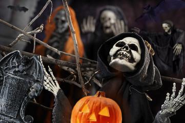 skull and skeleton for the dark night of Halloween