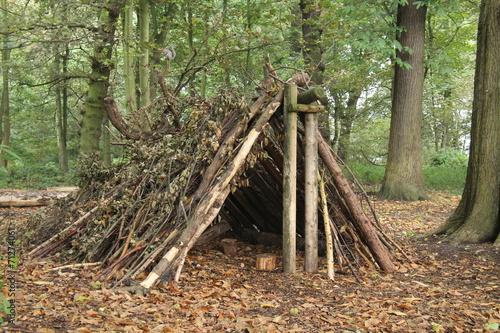 Leinwandbild Motiv A Forest Shelter Made From All Natural Materials.