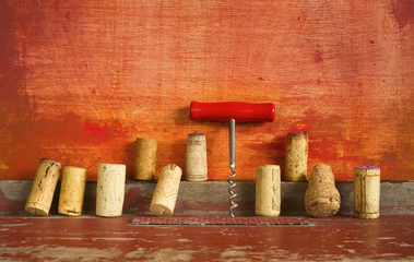 row of wine cork and corkscrew, free copy space