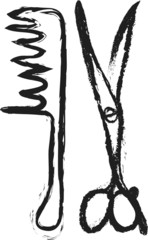 doodle scissors and comb