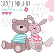 sweet dreams bunny and bear vector illustration