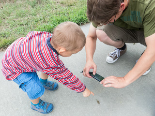 Father and son taking picture of a locust