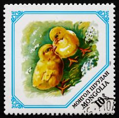 Postage stamp Mongolia 1982 Chicks, Baby Animals