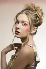 female with stylish colorful make-up