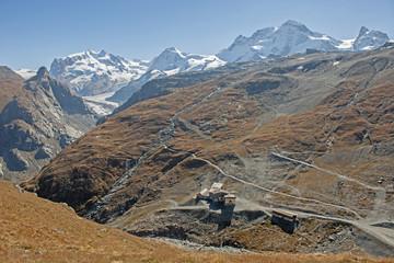 Sicht auf Furgg mit Gebirgspanorama, Zermatt