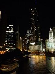 Chicago di notte canale fiume