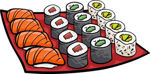 sushi lunch cartoon illustration